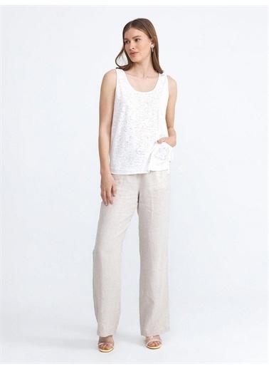 Xint XINT Yuvarlak Yaka Eteği Cepli Rahat Kesim Pamuklu Bluz Beyaz